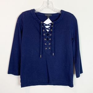 J.Crew   lace up 3/4 sleeve pullover top XXS